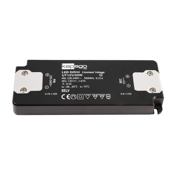 Deko-Light Netzgerät, FLAT, CV, UT12V/20W, spannungskonstant, 220-240V AC/50-60Hz, 12V DC, 0-1670 mA