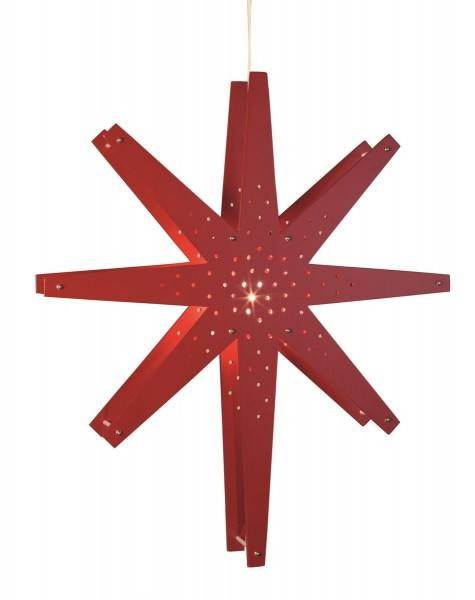 "Holzstern ""Tall"" - hängend - 8-zackig - Ø 60cm, H: 70cm - inkl. Kabel - rot"