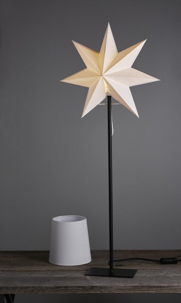"Combi-Pack ""Frozen"", E14 Fassung Stern und Lampenschirm zum Austauschen Material: Papier,Metall , Farbe: weiss / schwarz ca. 35 x 85 cm, 1,8 m Zuleitung, Vierfarb-Karton"