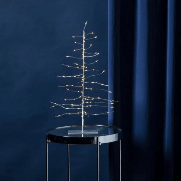LED-3D Baum mit 80 warmweißen Tautropfen-LED - silberner Ständer - H: 45cm - Batterie - Timer