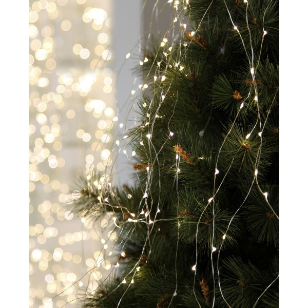 "LED-Lichterbouquet ""Dew Drops"" - 125 weiße 2700K LEDs auf 10 Drähten - 1,4m - inkl. Trafo"