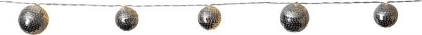"""LED-Lichterkette """"Flake"""" - 10 silberne Kugeln an 1,35m transperentem Kabel - Batterie - Timer"""