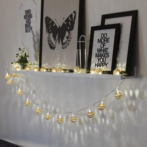 LED Dekolichterkette goldene Metallkugeln - 10 warmweiße LED - D: 4cm L: 0,9m - Batterie - indoor