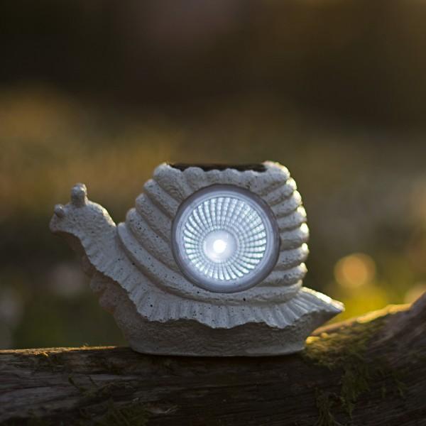 LED Solar Gartenfigur Schnecke - 1 kaltweiße LED - H: 9cm - Dämmerungssensor - grau