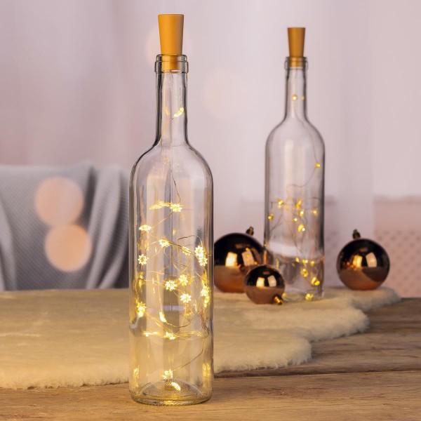 LED Drahtlichterkette Korken - Stern - Flaschenverschluss - 20 warmweiße LED - L: 1,0m - 2er Set