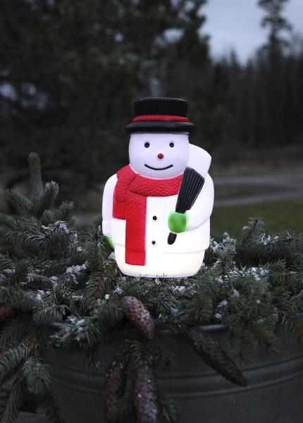 LED-Steckfigur Schneemann - 5 kaltweiße LEDs - H: 28cm - Timer - batteriebetrieben - Outdoor Figur