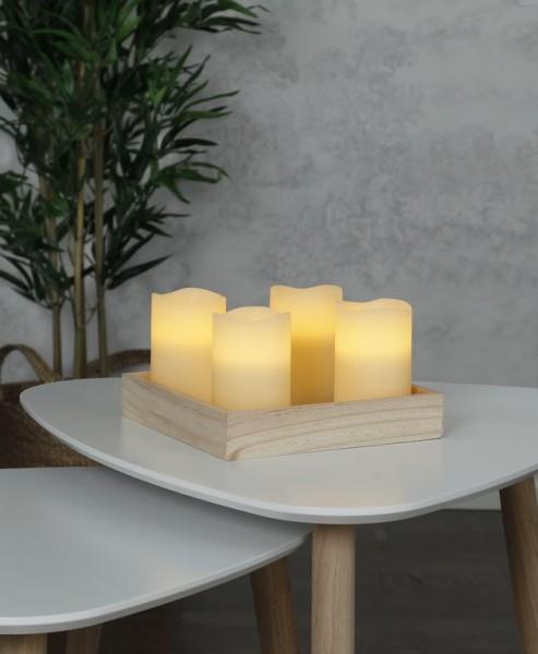 LED-Kerze | Echtwachs | May | flackernde LED | Timer | 4er Set | Creme