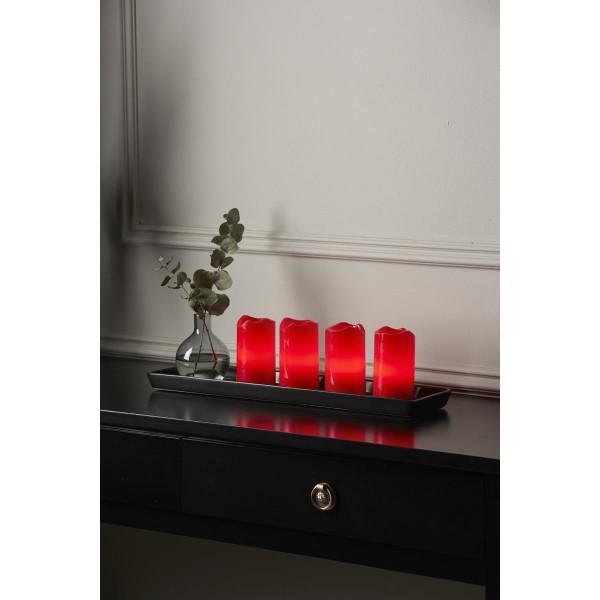 LED-Kerze | Echtwachs | Advent | flackernde LED | Fernbedienung | 4er Set | Rot