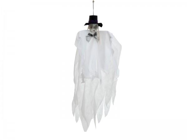 Halloween Figur - weiße Geisterpuppe - 70cm - formbar - zum Aufhängen