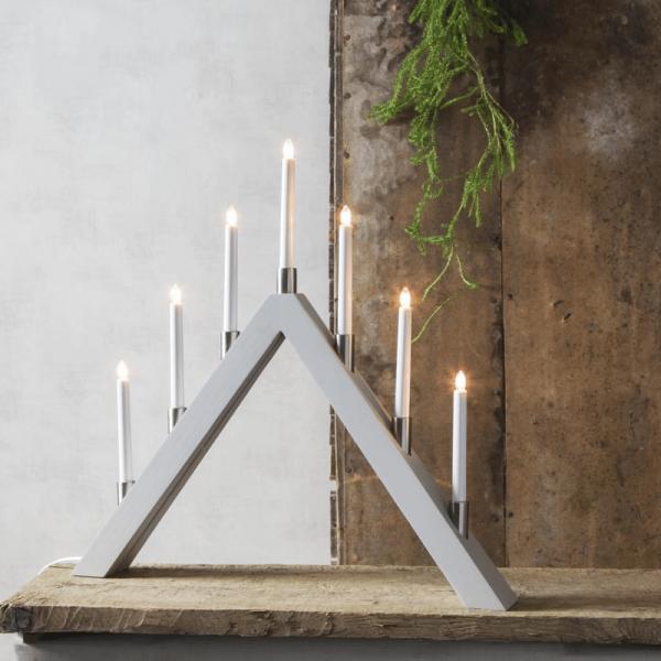 Fensterleuchter TALL - 7 warmweiße Glühlampen - L: 66cm, H: 63cm - Holz - Schalter - Grau