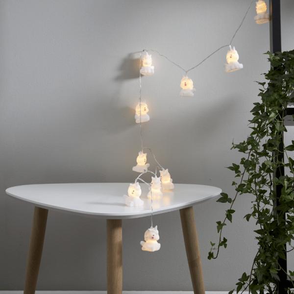 LED Lichterkette Einhorn - 10 weiße Einhörner mit warmweißen LED - 1,35m - Batterie - Timer
