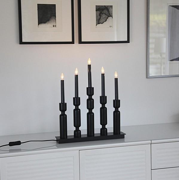 """Fensterleuchter """"Uddebo"""" - 5flammig - warmweiße LEDs - H: 44cm, L. 37cm - Schalter - Schwarz"""