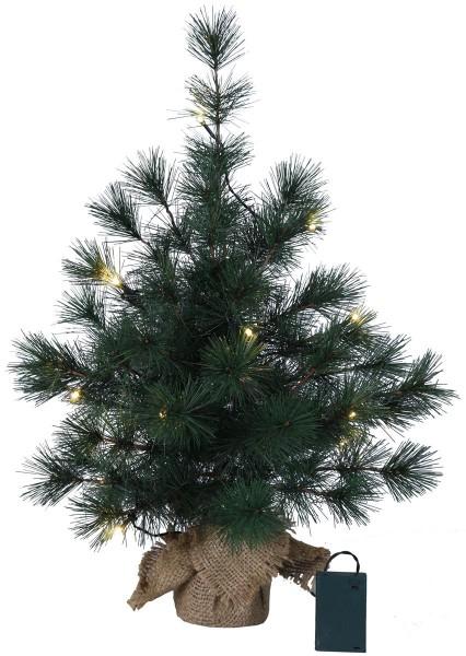 "LED-Tannenbaum""Furu"" - im Jute-Sack - H: 60cm, D: 40cm - 20 warmweiße LEDs -Timer - batteriebetrieben"