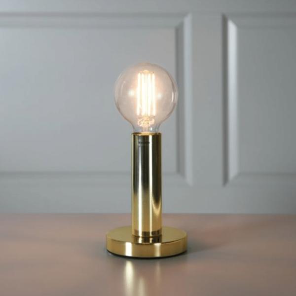 Lampenhalterung | GLANS | E27 | →12cm x ↑17cm | 180cm Kabel | Röhre lang | stehend | Messing