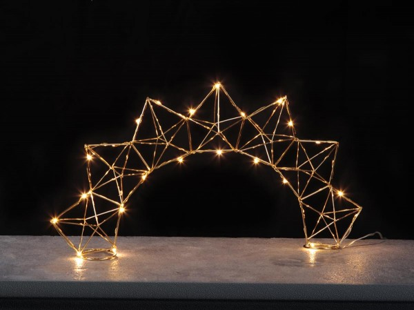 "LED-Dekoleuchte ""Edge"" - 25 warmweiße LED - Material: Metall, messingfarben - H:27cm, L: 52cm"