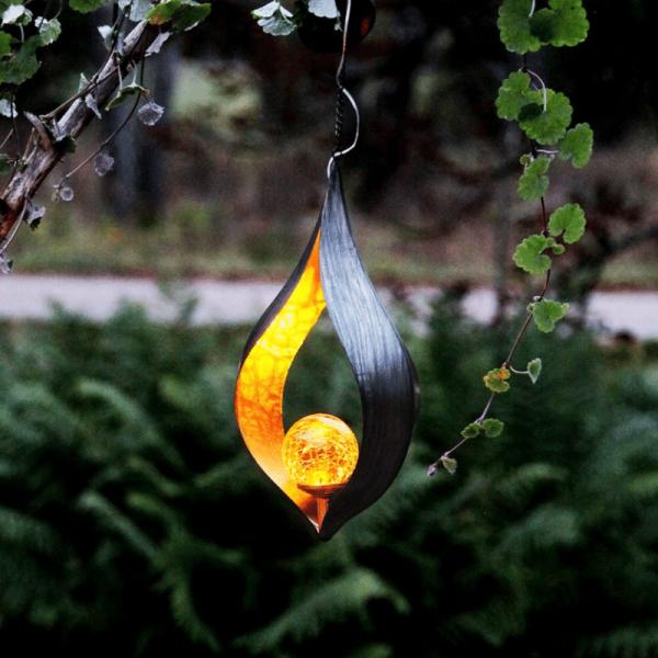 """LED Solar Dekoleuchte """"Melilla"""" - orangene Kugel - zum Hängen - Lichtsensor - H: 31cm B: 18cm"""