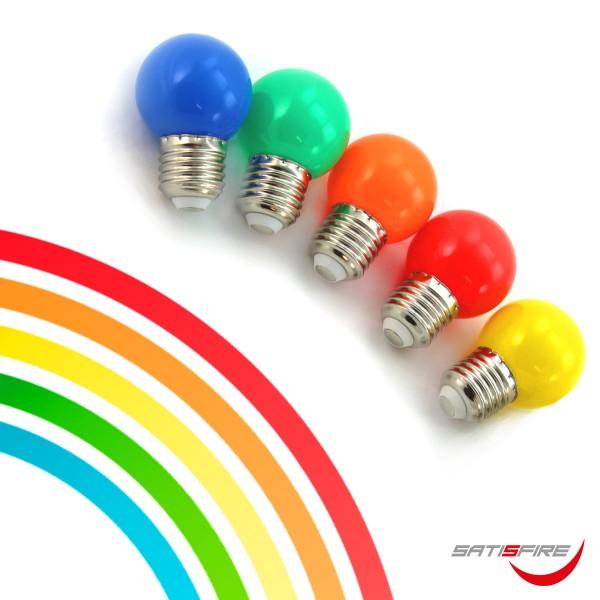 10er Set bunte LED Kugellampen (je 2x rot, grün, blau, gelb, orange) 1W-E27-G45