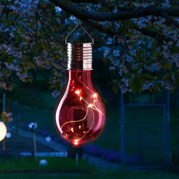 LED Solar Glühbirne GLOW - warmweiße LED Drahtlichterkette - H: 14cm - Lichtsensor - outdoor - rot