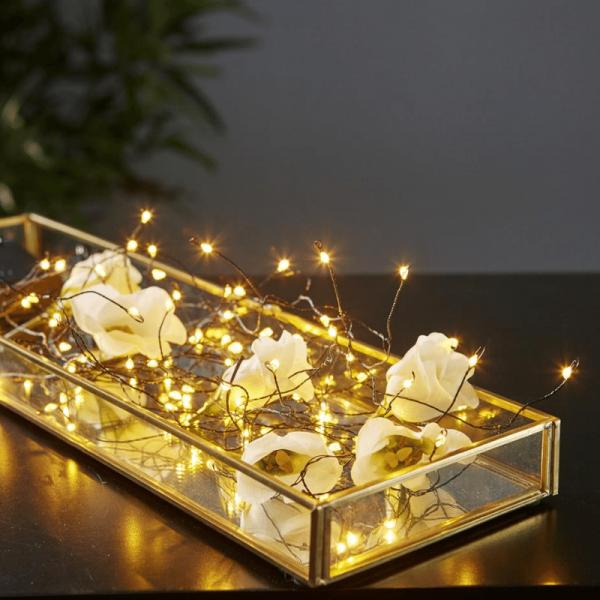 """LED Lichtbündel """"Dew Drop"""" - 46 warmweiße LED auf 5 silbernen Drähten - 2700K - 1m - Batteriebetrieb"""