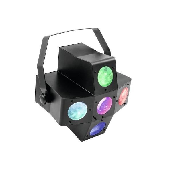 """Strahlenshow """"PUS-7"""" - raumfüllender, 4-farbiger Lichteffekt - Musiksteuerung, Automatik, Fernbedien"""