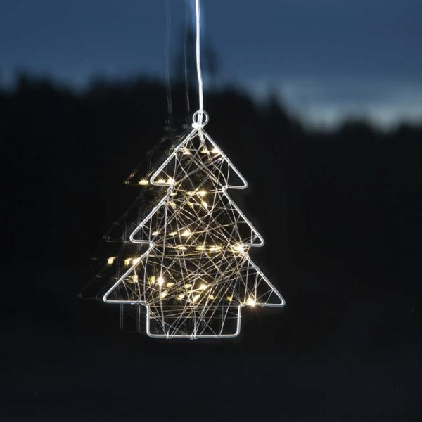 """LED-Leuchtbaum """"Whirl"""" - Fensterdeko mit Saugnapf - 12 warmweiße LED - silber - Metall - 20x17cm"""