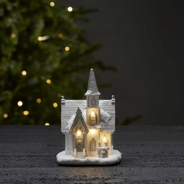 "LED-Kirche ""Chapel"" - 4 warmweiße LED - H: 18cm - Batteriebetrieb - Timer - weiß"