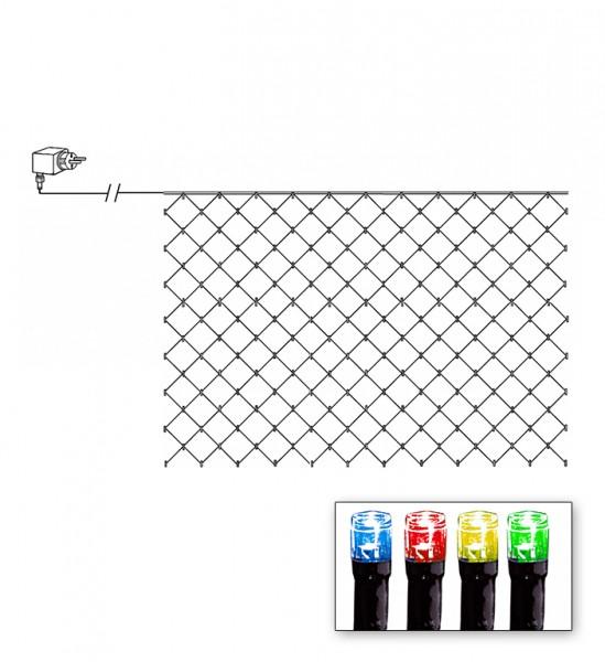 LED-Lichternetz | Serie LED | Outdoor | Schwarzes Kabel | bunte LED | 3.00 m x 3.00m | 180x LEDs