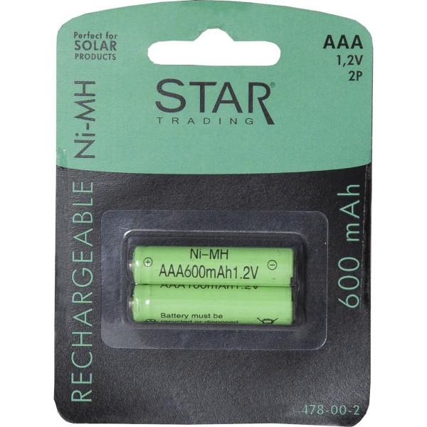 SOLAR-AKKU - Speziell für Solarprodukte - AAA Micro - 1,2V - 600mAh - 2er Set