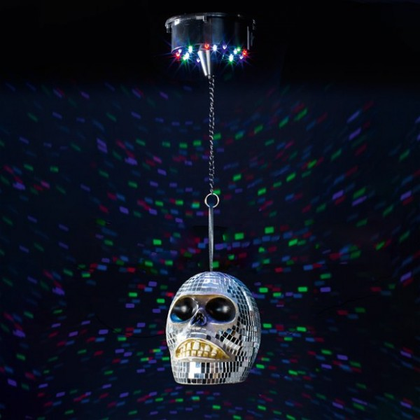 Halloween Diskokugel - Totenkopf - Mit Motor und bunten LEDs - Batteriebetrieb