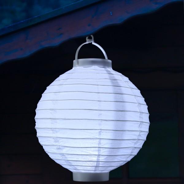 LED Lampion FESTIVAL - Papierlaterne - kaltweiße LED - D: 30cm - Montagehaken - weiß