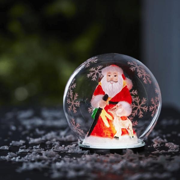 "LED Deko Kugel ""Bubble"" Weihnachtsmann - RGB Farbwechsel - D: 12cm, H: 13,5cm - Batteriebetrieb"