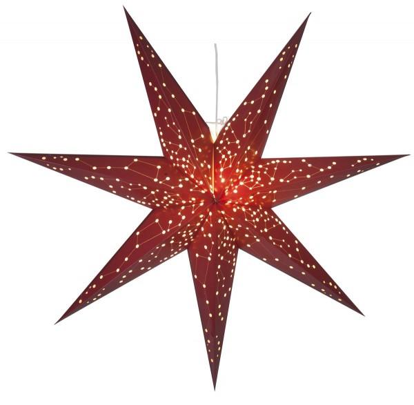 """Papierstern """"Galaxy"""" - mit Sternenbildern - hängend - 7-zackig - Ø 100 cm - inkl. Kabel - rot"""
