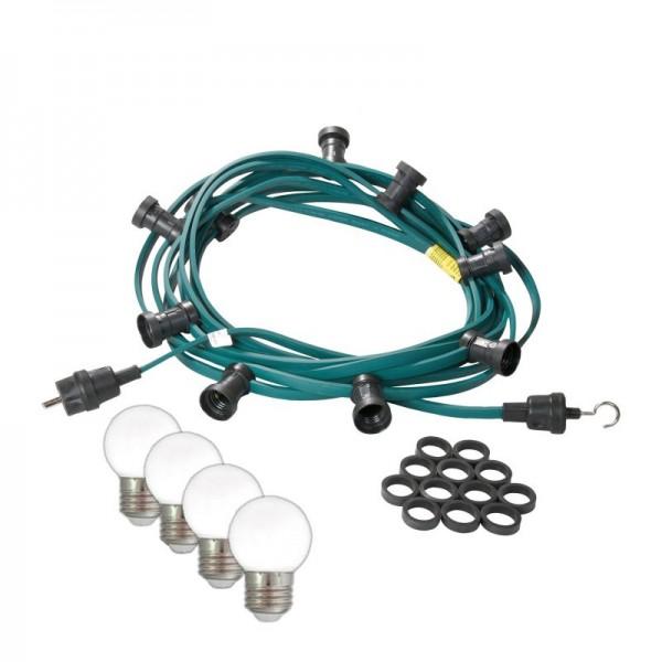 Illu-/Partylichterkette 10m | Außenlichterkette | Made in Germany | 10 kaltweißen LED-Kugellampen