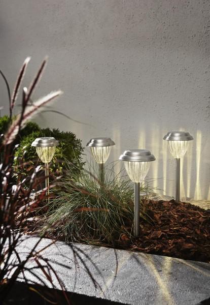 "LED-Solar-Leuchten ""Palma"" - 4er Set - WW LEDs - Edelstahl - H: 28cm - D: 12cm - Dämmerungssensor"