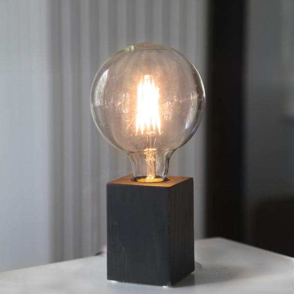 Lampenhalterung LYS - Tischleuchte - E27 - H: 10cm - stehend - Kabel mit Schalter - Holz - schwarz