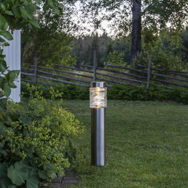 LED Solar Wegleuchte CAPRI - Edelstahl - warmweiße LED - H: 57cm - D: 12cm - Dämmerungssensor