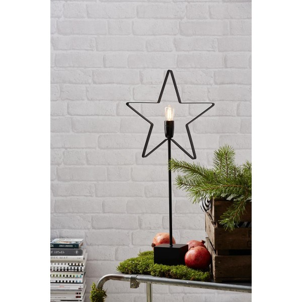 """Stehleuchte Stern """"Orbit""""- 5-zackig - E14 Fassung - H: 70cm, L: 33cm - inkl. Leuchtmittel - schwarz"""