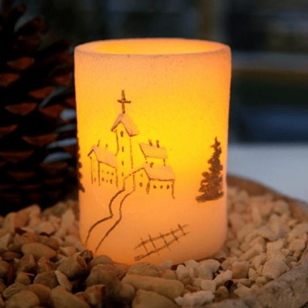 LED-Kerze   Echtwachs   Myrt   flackernde LED   Timer   Kirche   ↑10cm