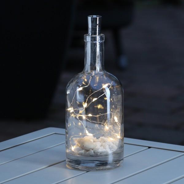 LED Lichterkette KORKEN - Flaschenverschluss - 15 warmweiße LED - 70cm - Timer - silber