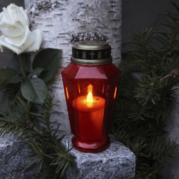 "LED Novenkerze ""Serene"" - Grabkerze - flackernde warmweiße LED - H: 15,5cm - rot/gold"
