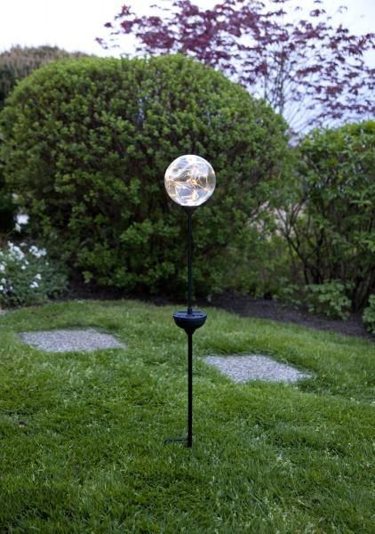 "LED-Solarstab ""Glory"" - silberne Kugel - 30 warmweiße LEDs - H: 70cm - D: 12cm - Dämmerungssensor"