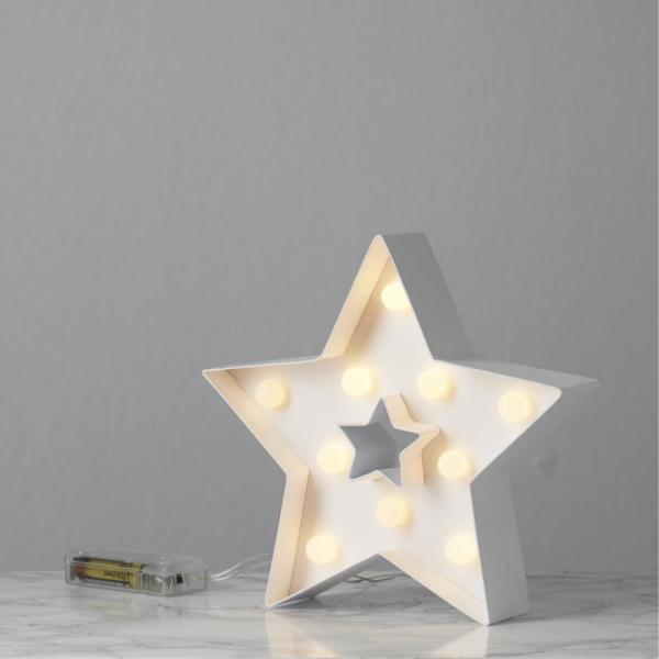 """LED-Leuchtstern """"Papyruz"""" - stehend - 5-zackig - 10 warmweiße LED - H: 26cm - Batteriebetrieben"""