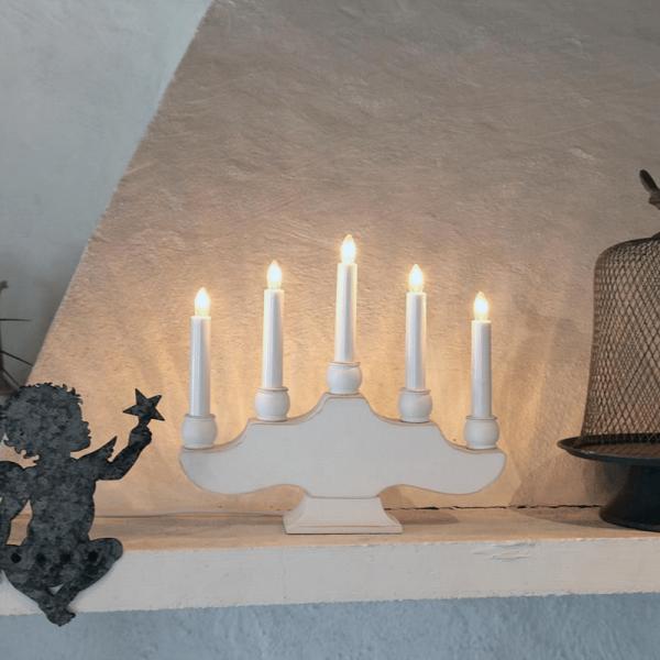 """Kerzenleuchter """"Hanna"""" - 5 Arme - warmweiße Glühlampen - H: 28cm, L: 30cm - Schalter - Weiß"""