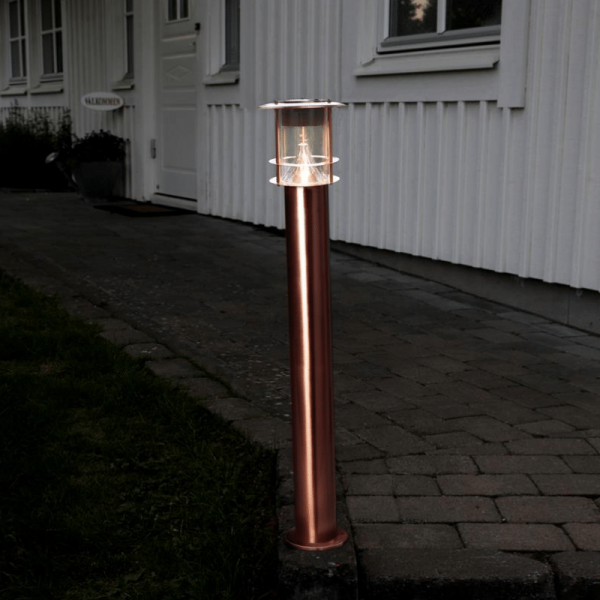 "LED Solar Wegleuchte ""Valencia"" - Edelstahl - 6 warmweiße LED - 15lm - H: 78cm - kupferfarben"