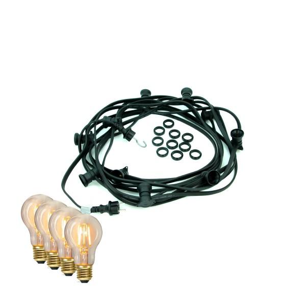 ILLU-Lichterkette BLACKY - 20m - 20 x E27 - IP44 - warmweiße EDISON LED Filamentlampen - SATISFIRE