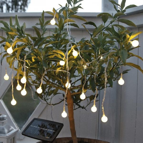 "LED Solarlichterkette ""Globini"" - 20 warmweiße LED - L: 4,75m - Dämmerungssensor - outdoor"