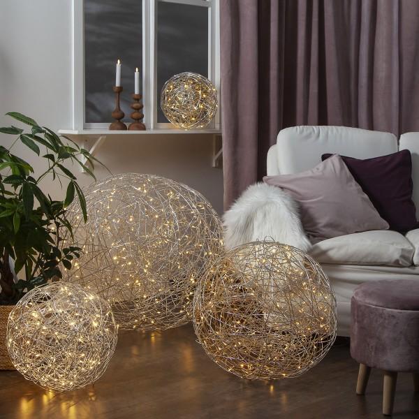 LED 3D Designkugel TRASSEL - D: 37,5cm - 100 warmweiße LED - Indoor & Outdoor - aus Silberdraht