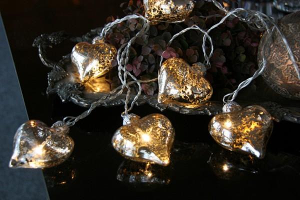 LED Lichterkette - Heart Line Indoor - 5,10m - 8x Warmweiß - 8x 6cm Glasherz