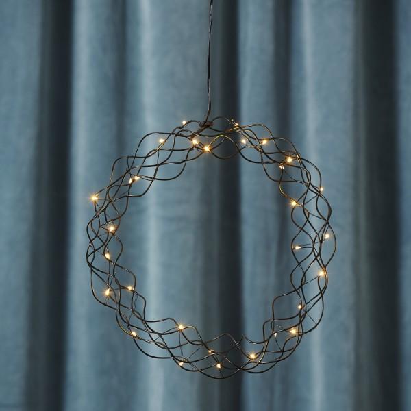 LED Lichtkranz Curly - 30 warmweiße LED - D: 30cm - Metall - schwarz