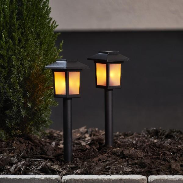 "LED Solar Wegleuchte ""Flame"" - gelbe LED mit bewegtem Feuereffekt - inkl. Akku - schwarz - 2er Set"